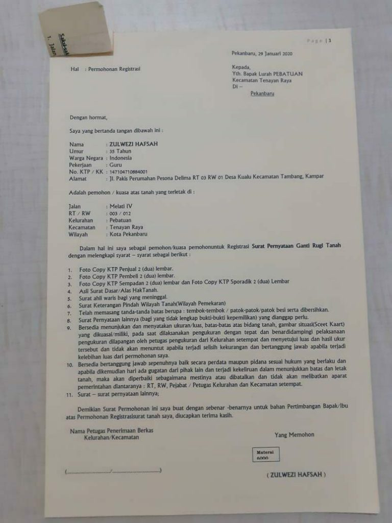 pengajuan shm agrovillage pekanbaru