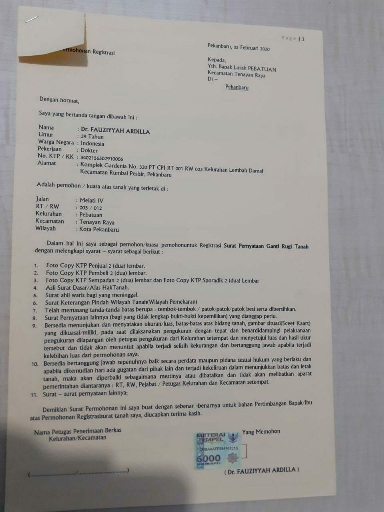 surat shm agrovillage pekanbaru