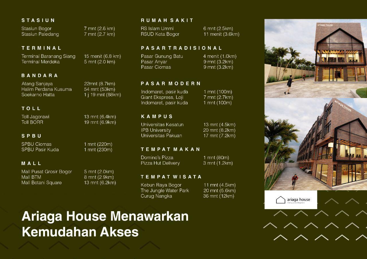 lokasi ariaga house dari fasilitas umum